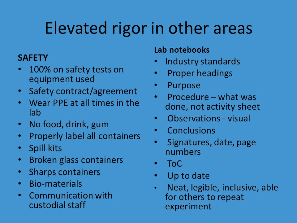Elevated rigor in other areas SAFETY 100% on safety tests on equipment used Safety contract/agreement Wear PPE at all times in the lab No food, drink, gum Properly label all containers Spill kits Broken glass containers Sharps containers Bio-materials Communication with custodial staff Lab notebooks Industry standards Proper headings Purpose Procedure – what was done, not activity sheet Observations - visual Conclusions Signatures, date, page numbers ToC Up to date Neat, legible, inclusive, able for others to repeat experiment