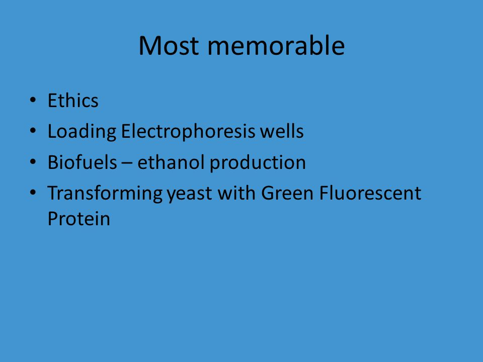 Most memorable Ethics Loading Electrophoresis wells Biofuels – ethanol production Transforming yeast with Green Fluorescent Protein
