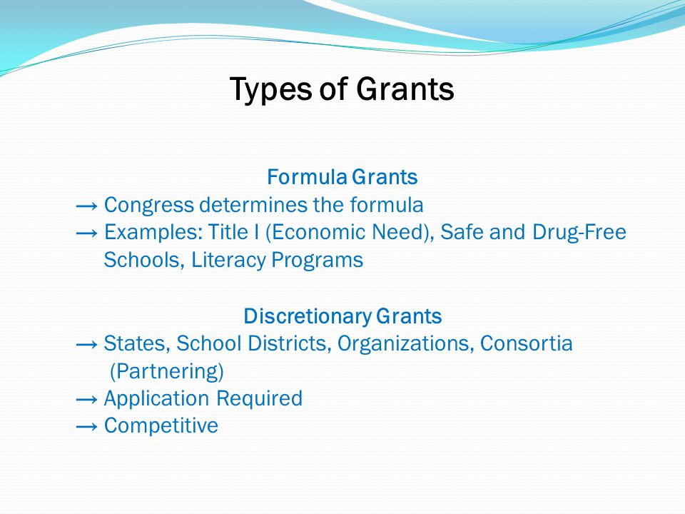 Types of Grants Formula Grants → Congress determines the formula → Examples: Title I (Economic Need), Safe and Drug-Free Schools, Literacy Programs Discretionary Grants → States, School Districts, Organizations, Consortia (Partnering) → Application Required → Competitive