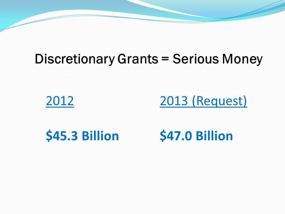 Discretionary Grants = Serious Money 20122013 (Request) $45.3 Billion$47.0 Billion