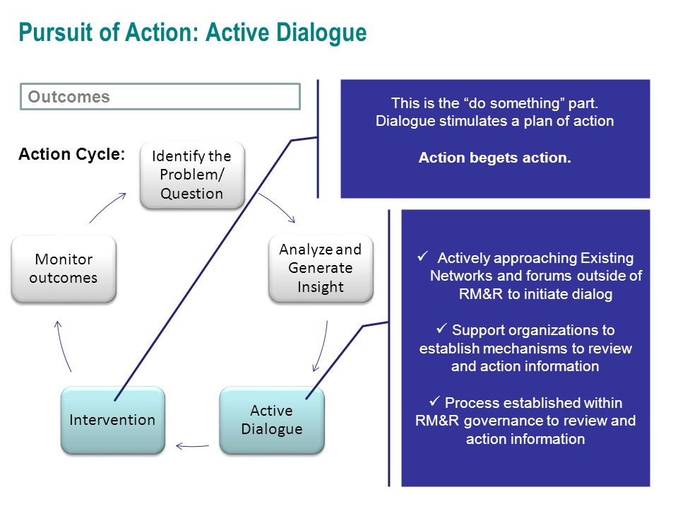 Identify the Problem/ Question Analyze and Generate Insight Active Dialogue Intervention Monitor outcomes Pursuit of Action: Active Dialogue Actively approaching Existing Networks and forums outside of RM&R to initiate dialog Support organizations to establish mechanisms to review and action information Process established within RM&R governance to review and action information Action Cycle: This is the do something part.
