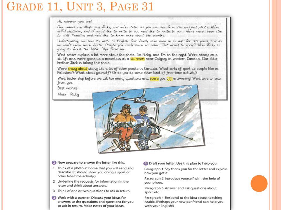 G RADE 11, U NIT 3, P AGE 31