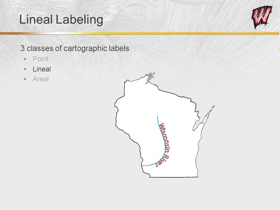 Lineal Labeling 3 classes of cartographic labels Point Lineal Areal