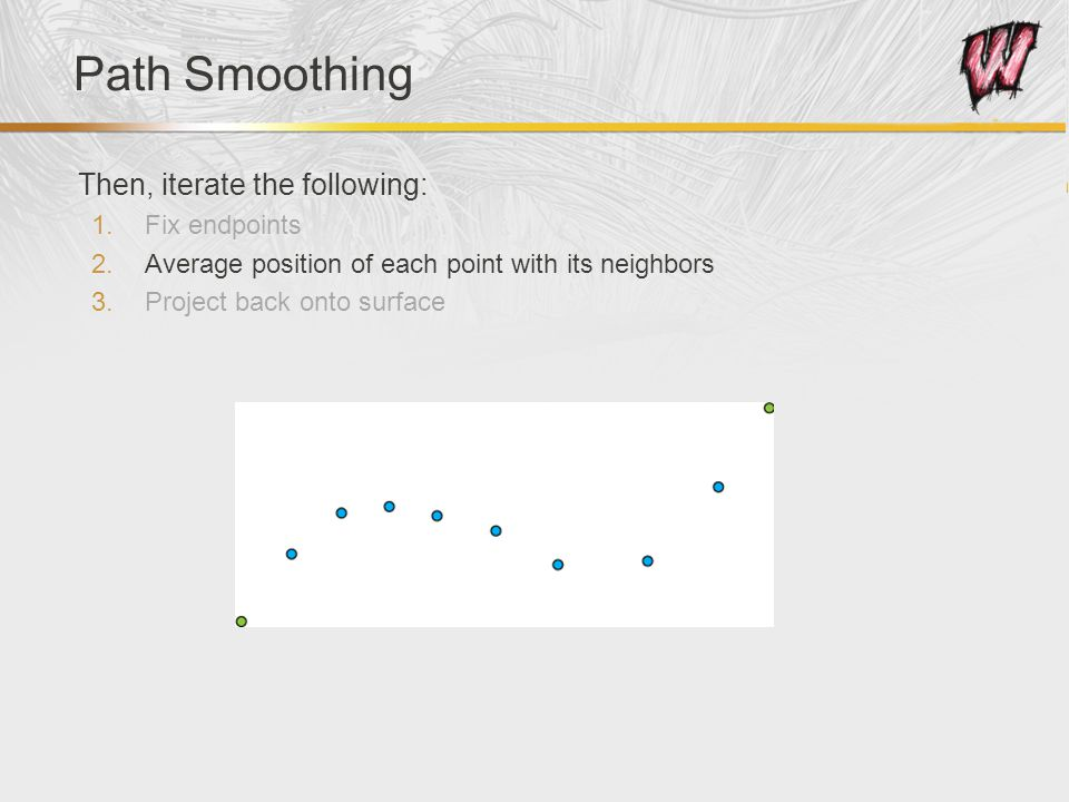 Path Smoothing Then, iterate the following: 1.Fix endpoints 2.Average position of each point with its neighbors 3.Project back onto surface