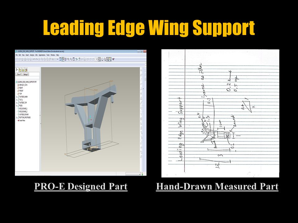 Horizontal Stabilizer PRO-E Designed PartHand-Drawn Measured Part