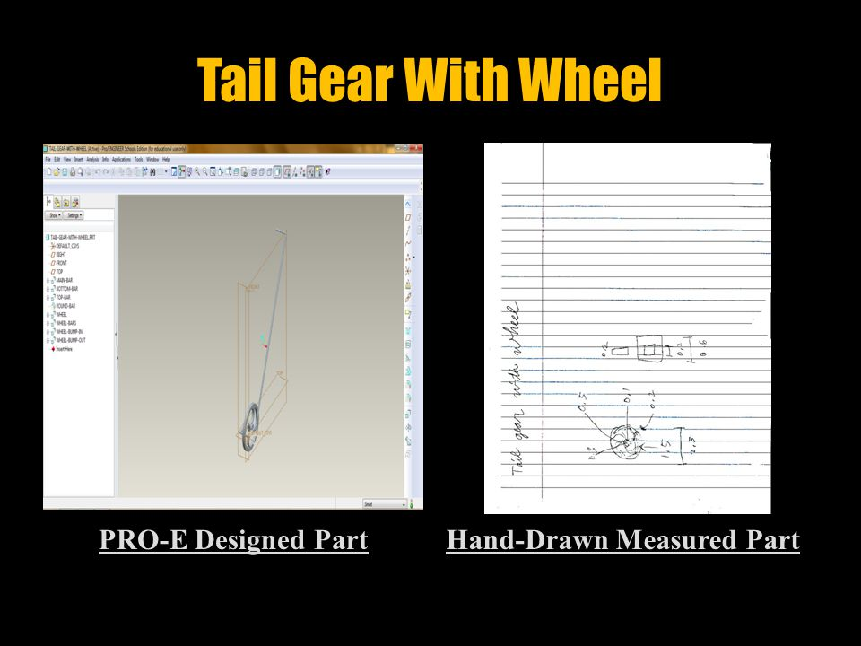 Main Gear With Wheel PRO-E Designed PartHand-Drawn Measured Part