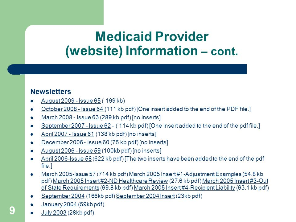 Medicaid Provider (website) Information – cont.