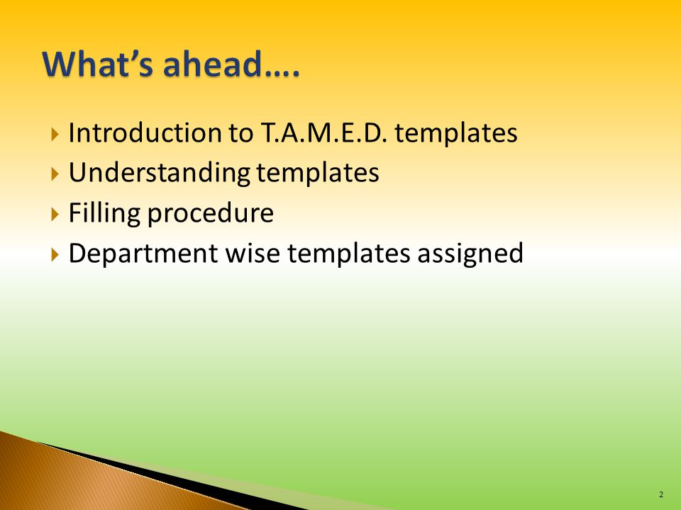  Introduction to T.A.M.E.D. templates  Understanding templates  Filling procedure  Department wise templates assigned 2