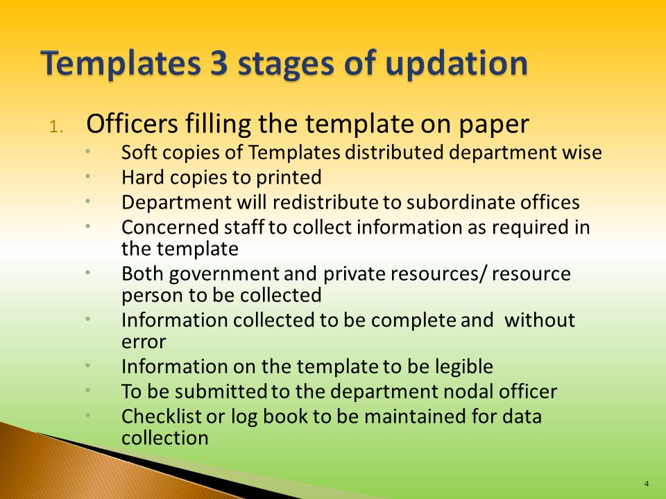 1. Officers filling the template on paper  Soft copies of Templates distributed department wise  Hard copies to printed  Department will redistribu
