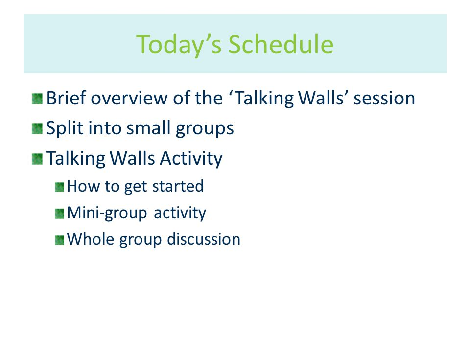Brief overview of the 'Talking Walls' session Split into small groups Talking Walls Activity How to get started Mini-group activity Whole group discussion Today's Schedule