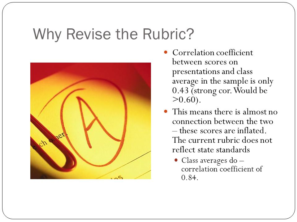 Why Revise the Rubric? Correlation coefficient between scores on presentations and class average in the sample is only 0.43 (strong cor. Would be >0.6