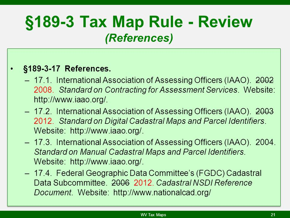 §189-3 Tax Map Rule - Review (References) §189-3-17 References.