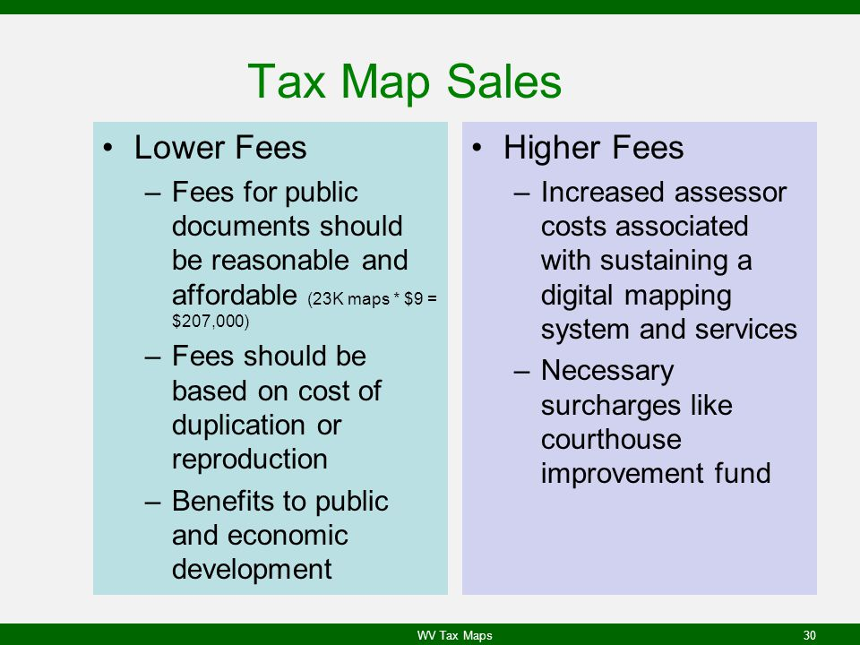Tax Map Sales Lower Fees –Fees for public documents should be reasonable and affordable (23K maps * $9 = $207,000) –Fees should be based on cost of duplication or reproduction –Benefits to public and economic development Higher Fees –Increased assessor costs associated with sustaining a digital mapping system and services –Necessary surcharges like courthouse improvement fund WV Tax Maps30