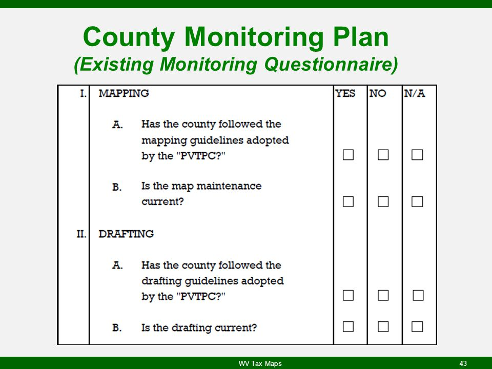 County Monitoring Plan (Existing Monitoring Questionnaire) WV Tax Maps43