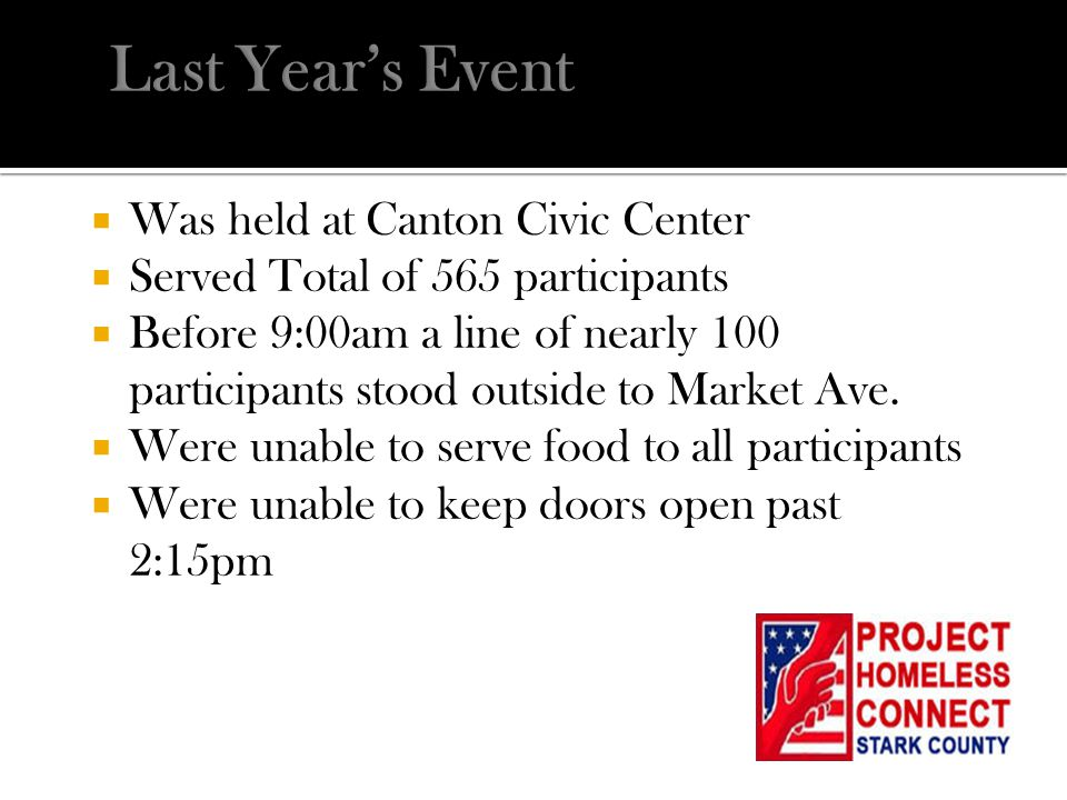  Was held at Canton Civic Center  Served Total of 565 participants  Before 9:00am a line of nearly 100 participants stood outside to Market Ave. 