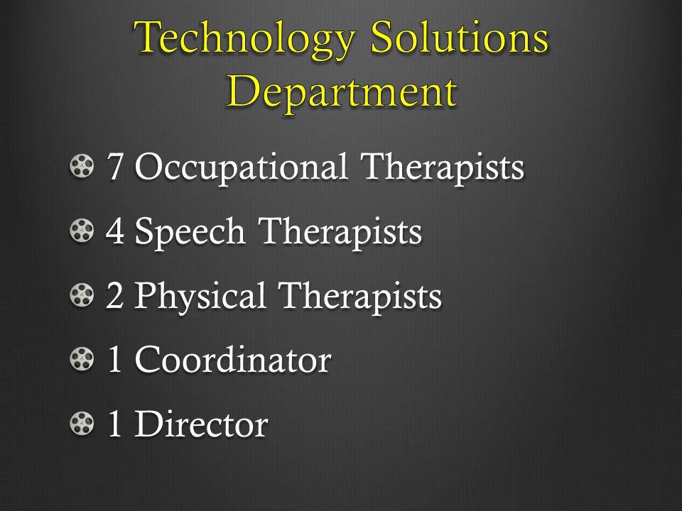 7 Occupational Therapists 7 Occupational Therapists 4 Speech Therapists 4 Speech Therapists 2 Physical Therapists 2 Physical Therapists 1 Coordinator 1 Coordinator 1 Director 1 Director