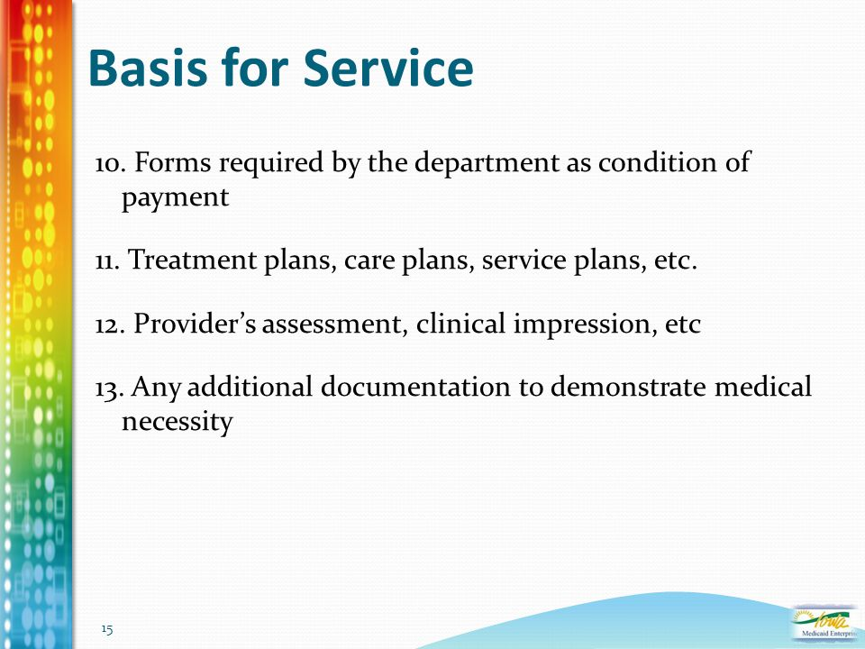 15 Basis for Service 10. Forms required by the department as condition of payment 11. Treatment plans, care plans, service plans, etc. 12. Provider's