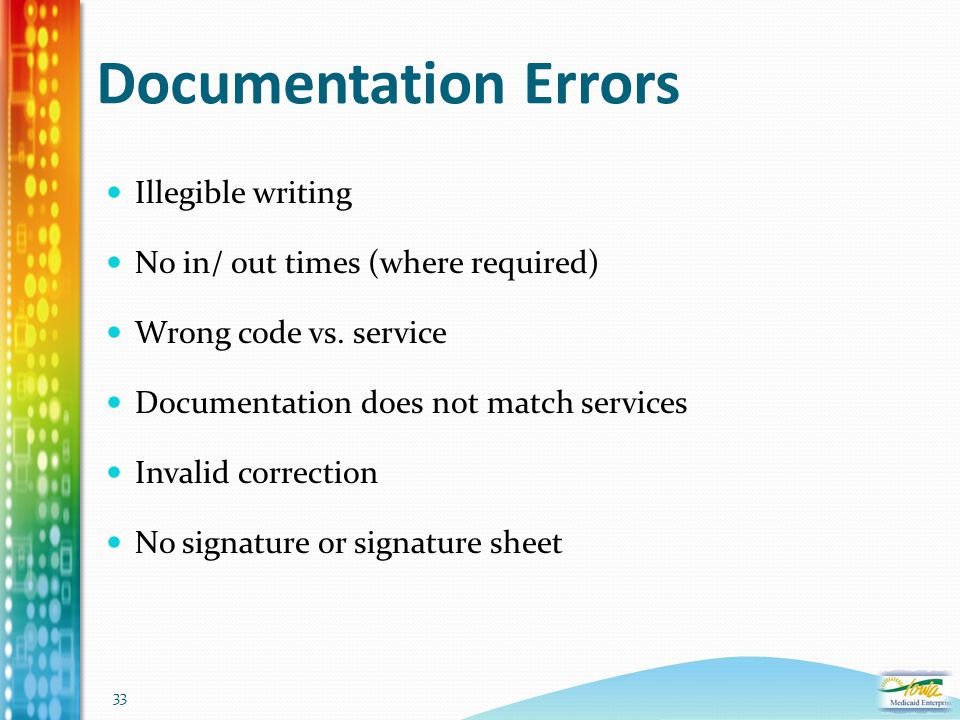 33 Documentation Errors Illegible writing No in/ out times (where required) Wrong code vs. service Documentation does not match services Invalid corre