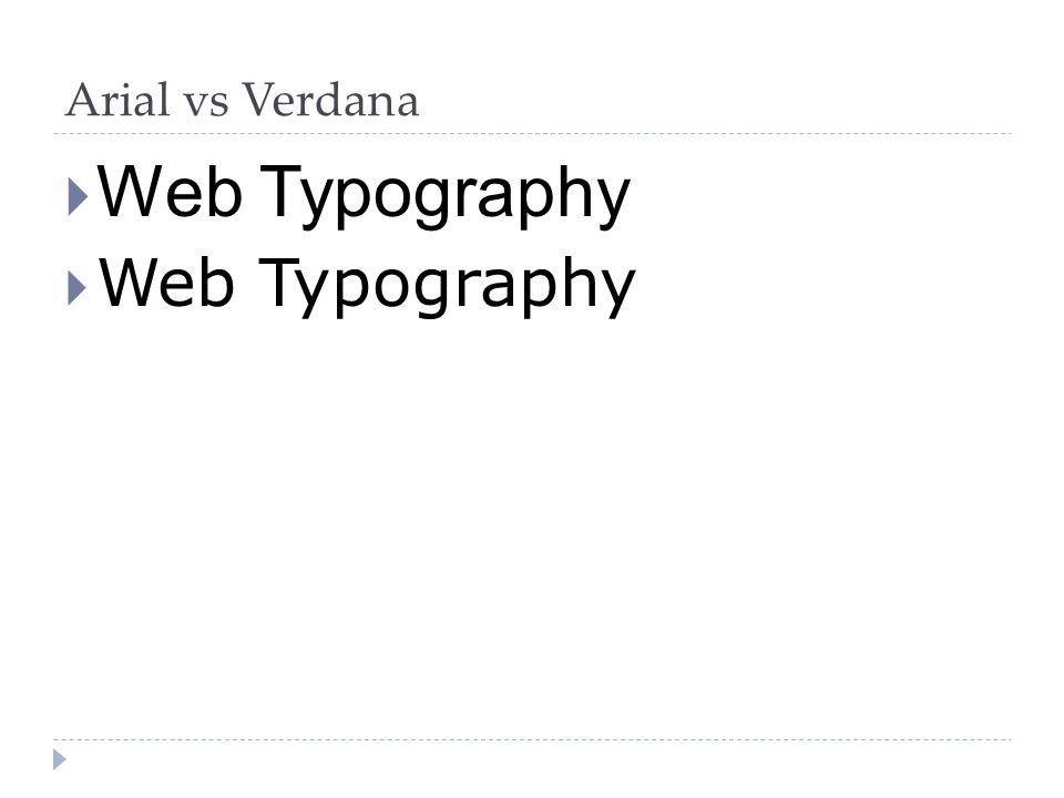 Arial vs Verdana  Web Typography