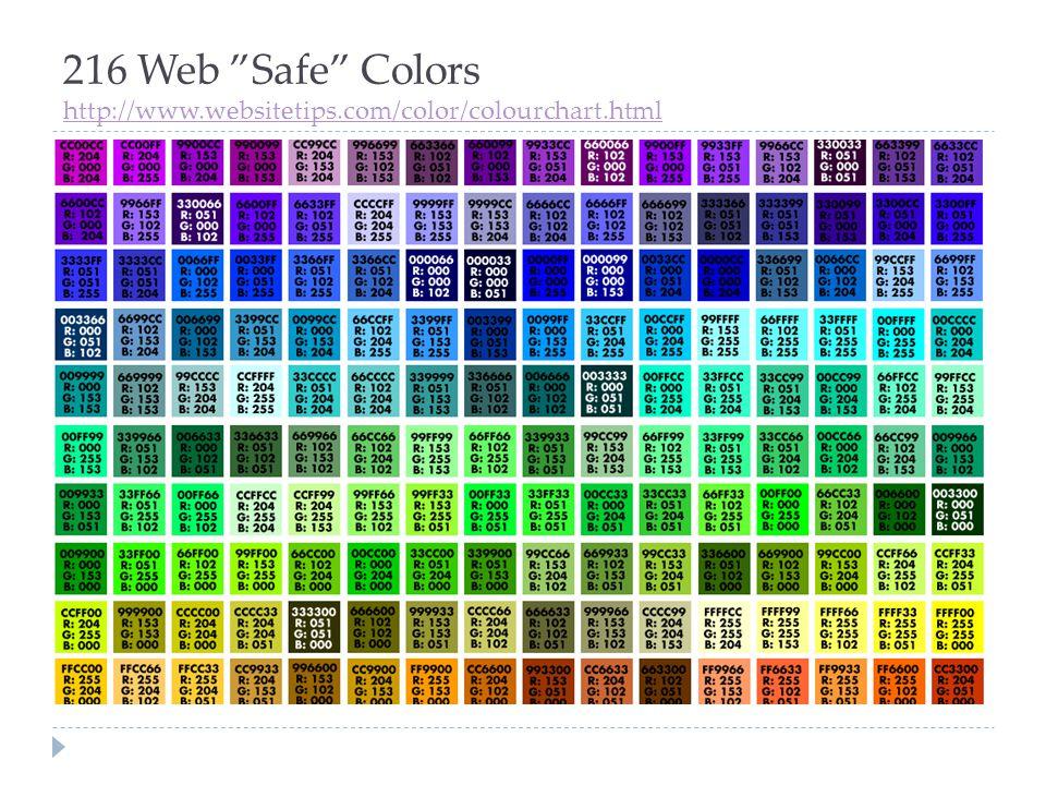 """216 Web """"Safe"""" Colors http://www.websitetips.com/color/colourchart.html http://www.websitetips.com/color/colourchart.html"""