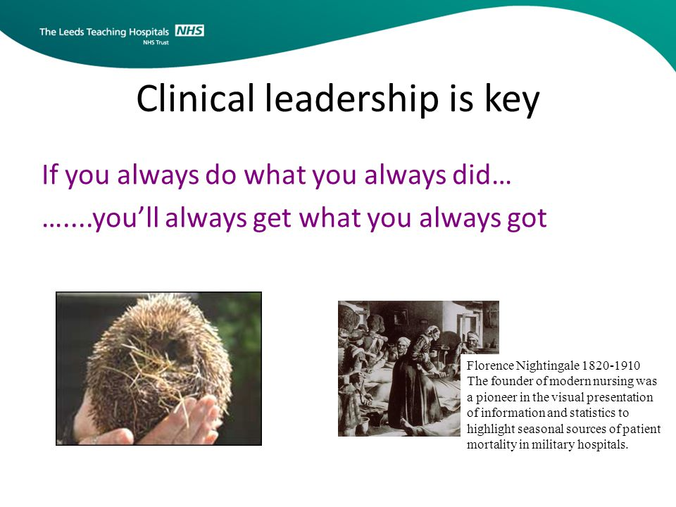 Clinical leadership is key If you always do what you always did… …....you'll always get what you always got Florence Nightingale 1820-1910 The founder