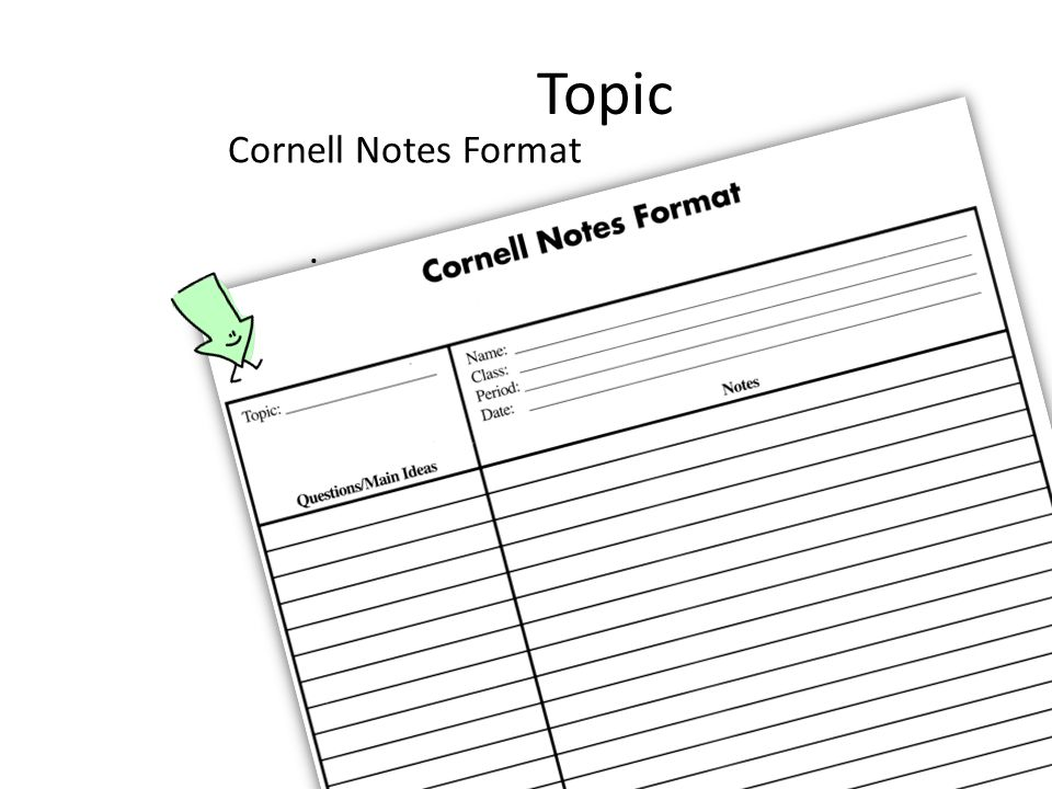 Topic. Cornell Notes Format