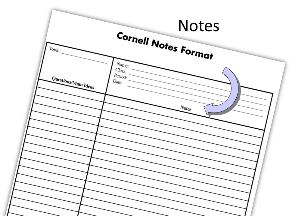 Notes. Cornell Notes Format