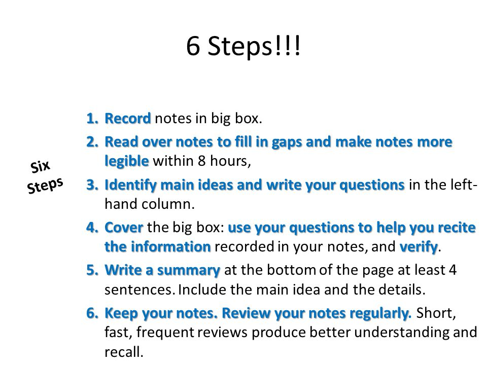 6 Steps!!! 1.Record 1.Record notes in big box. 2.Read over notes to fill in gaps and make notes more legible 2.Read over notes to fill in gaps and mak