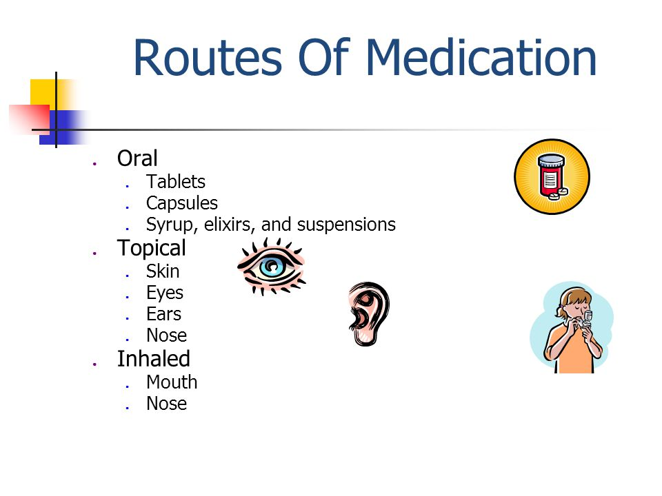 Routes Of Medication ● Oral ● Tablets ● Capsules ● Syrup, elixirs, and suspensions ● Topical ● Skin ● Eyes ● Ears ● Nose ● Inhaled ● Mouth ● Nose