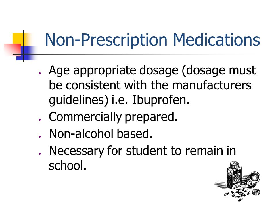 Non-Prescription Medications ● Age appropriate dosage (dosage must be consistent with the manufacturers guidelines) i.e.