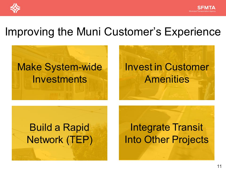 Improving the Muni Customer's Experience Make System-wide Investments Build a Rapid Network (TEP) Integrate Transit Into Other Projects 11 Invest in Customer Amenities