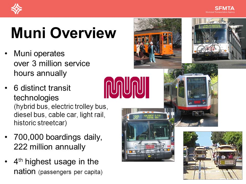 2 Muni operates over 3 million service hours annually 6 distinct transit technologies (hybrid bus, electric trolley bus, diesel bus, cable car, light rail, historic streetcar) 700,000 boardings daily, 222 million annually 4 th highest usage in the nation (passengers per capita) Muni Overview