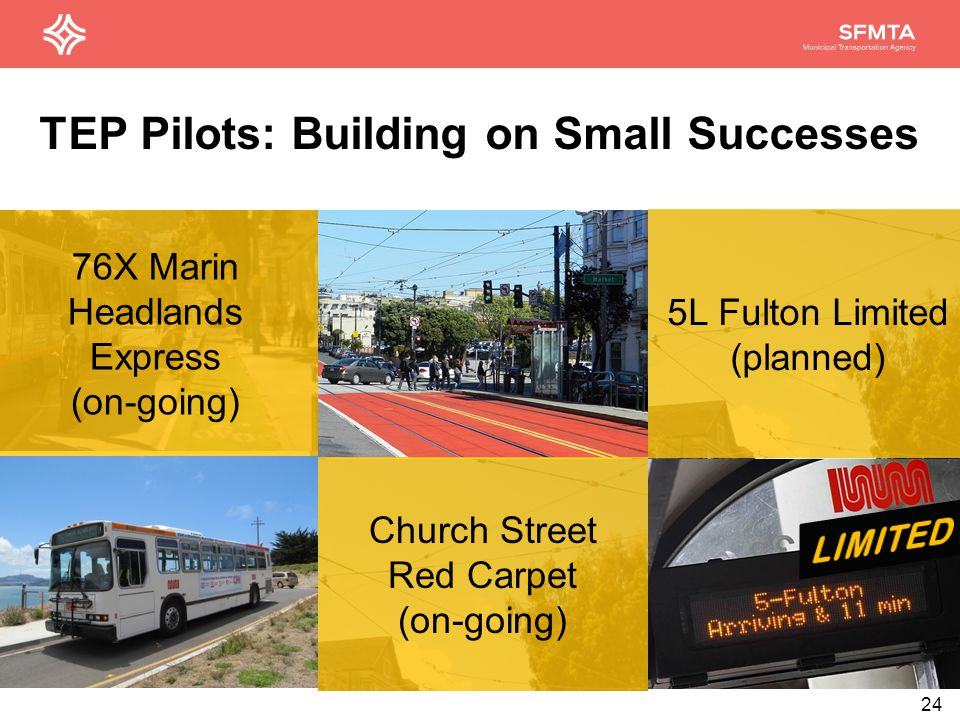 Church Street Red Carpet (on-going) 24 76X Marin Headlands Express (on-going) TEP Pilots: Building on Small Successes 5L Fulton Limited (planned)
