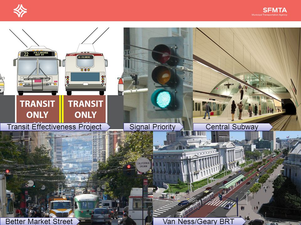 25 Better Market Street Central Subway Van Ness/Geary BRT Signal Priority Transit Effectiveness Project