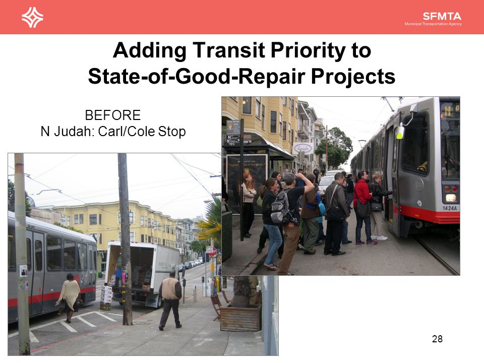 Adding Transit Priority to State-of-Good-Repair Projects 28 BEFORE N Judah: Carl/Cole Stop