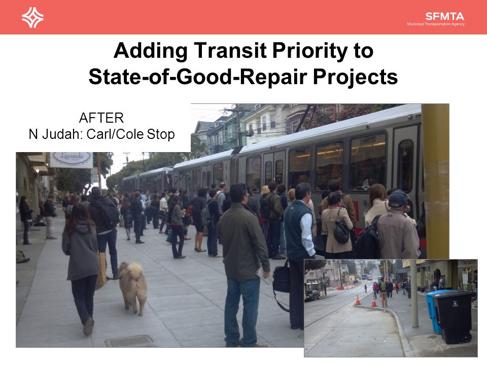 Adding Transit Priority to State-of-Good-Repair Projects 29 AFTER N Judah: Carl/Cole Stop