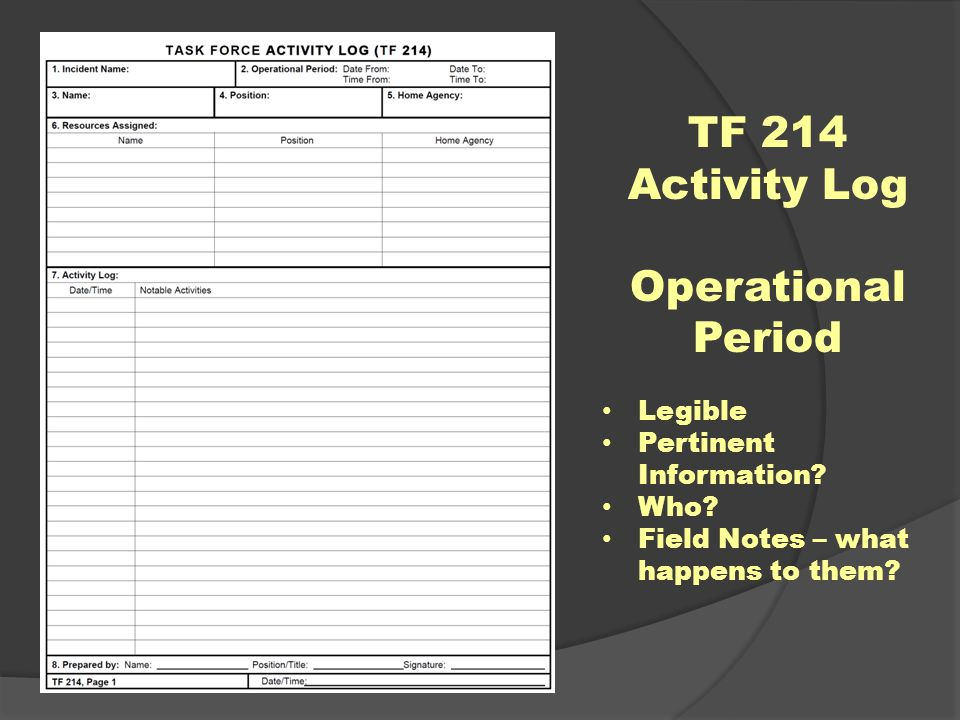 TF 214 Activity Log Operational Period Legible Pertinent Information.