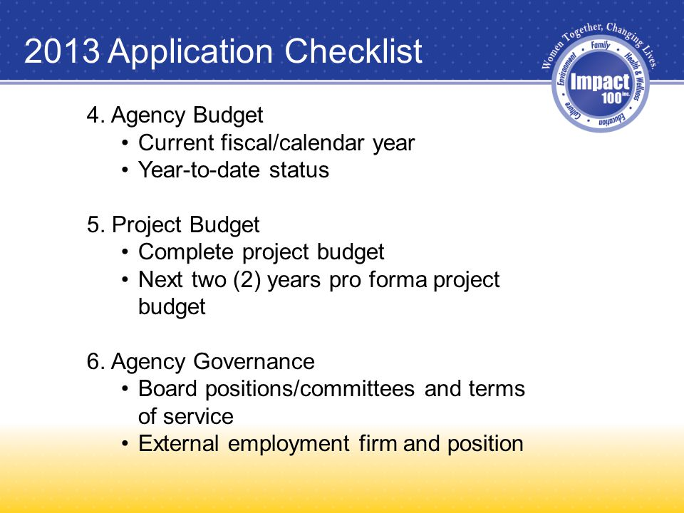 2013 Application Checklist 4. Agency Budget Current fiscal/calendar year Year-to-date status 5.