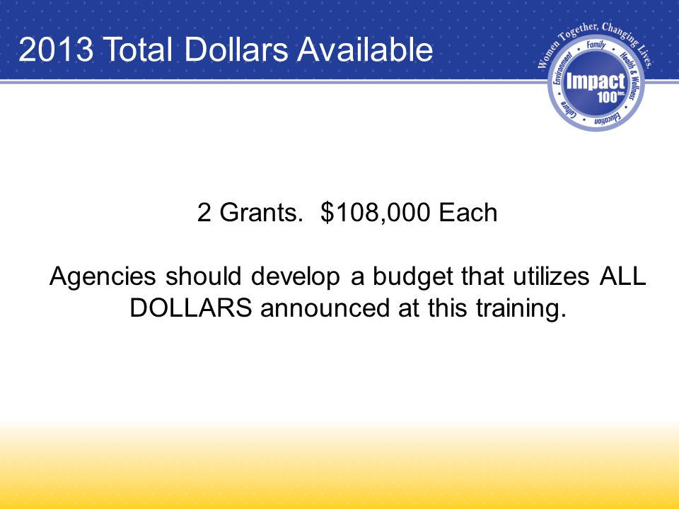2013 Total Dollars Available 2 Grants.