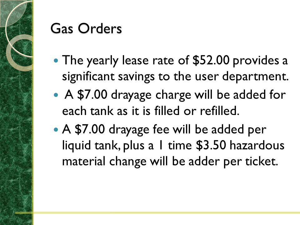 Gas Orders To insure prompt delivery please indicate the lease/rental number (found preprinted on the bottle tag) on all refill orders when ordering e