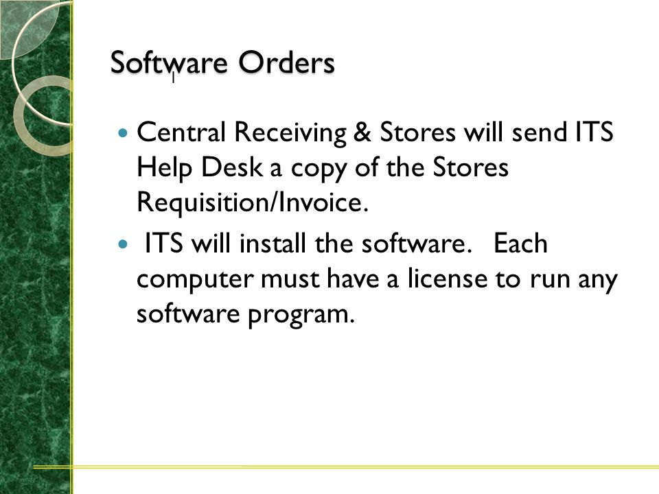 Software Orders Only Adobe, Macromedia, and Microsoft products should be ordered through Central Receiving & Stores. All other software should be orde