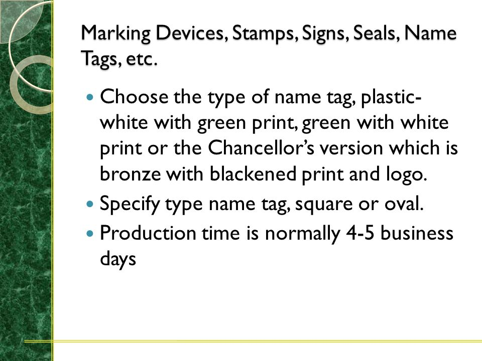 Marking Devices, Stamps, Signs, Seals, Name Tags, etc. CAROLINA MARKING DEVICES INC Accurate and legible sample For a signature stamp three samples of