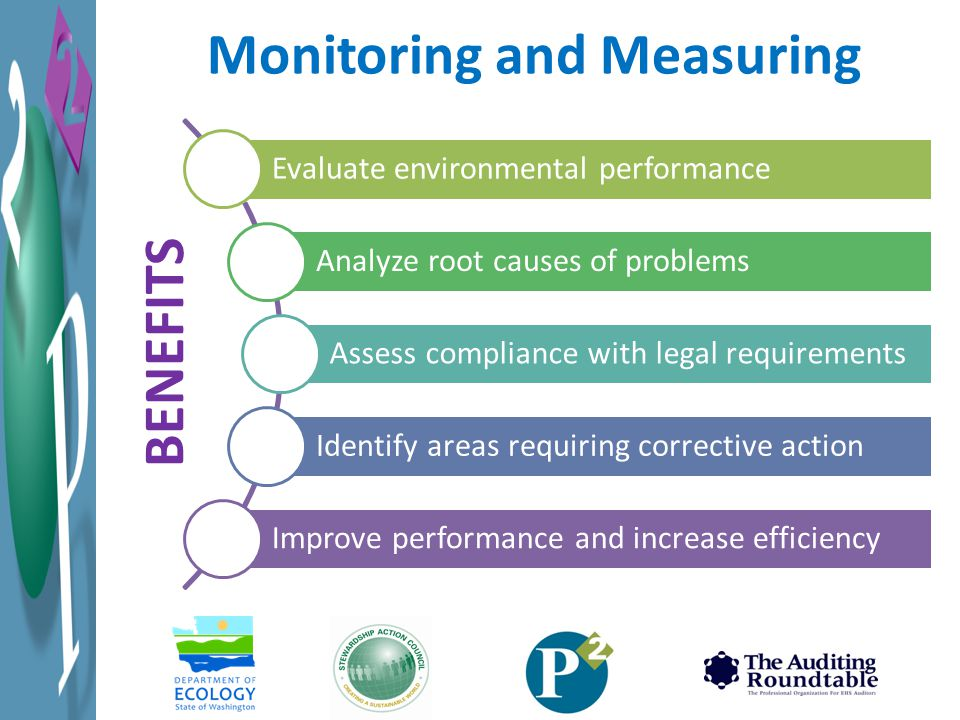 Evaluate environmental performance Analyze root causes of problems Assess compliance with legal requirements Identify areas requiring corrective action Improve performance and increase efficiency Monitoring and Measuring BENEFITS