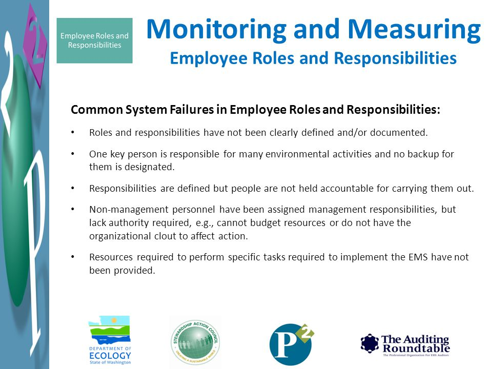 Monitoring and Measuring Employee Roles and Responsibilities Common System Failures in Employee Roles and Responsibilities: Roles and responsibilities have not been clearly defined and/or documented.