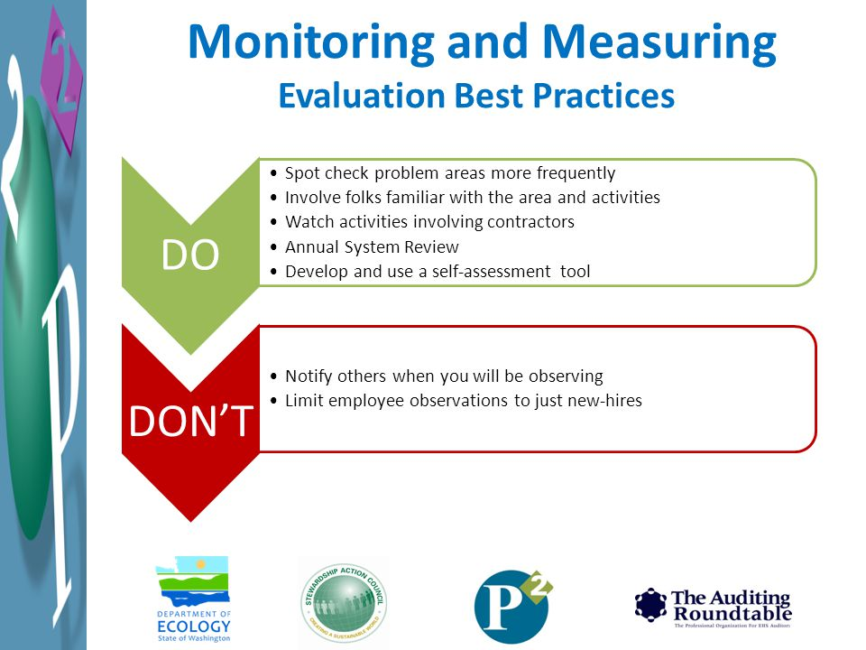 Monitoring and Measuring Evaluation Best Practices DO Spot check problem areas more frequently Involve folks familiar with the area and activities Watch activities involving contractors Annual System Review Develop and use a self-assessment tool DON'T Notify others when you will be observing Limit employee observations to just new-hires