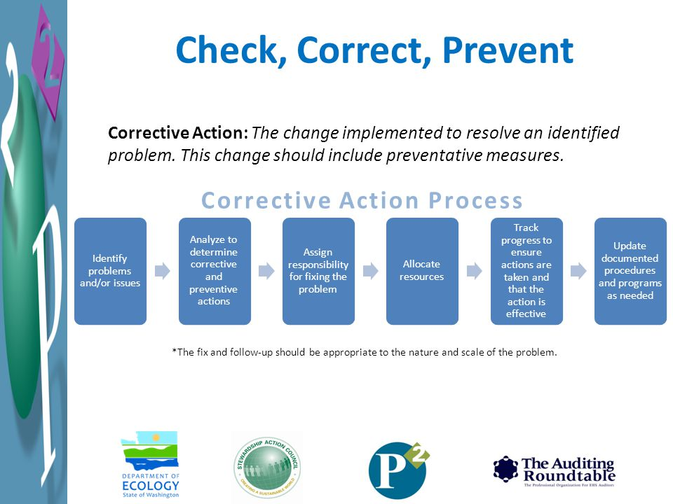 Check, Correct, Prevent Corrective Action: The change implemented to resolve an identified problem.