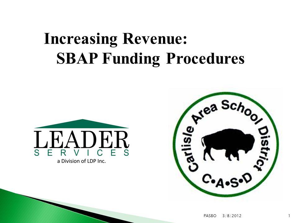 3/8/20121PASBO Increasing Revenue: SBAP Funding Procedures