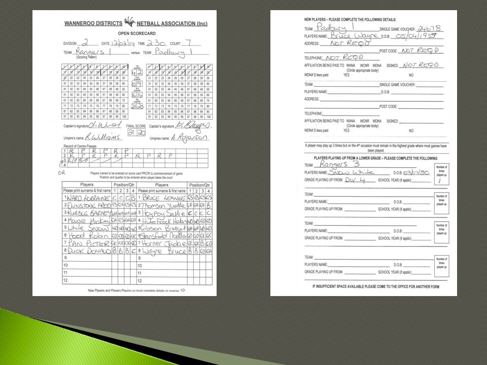  All sections of the score card are to be correctly filled in before placing in score box.