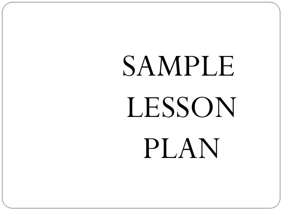 SAMPLE LESSON PLAN