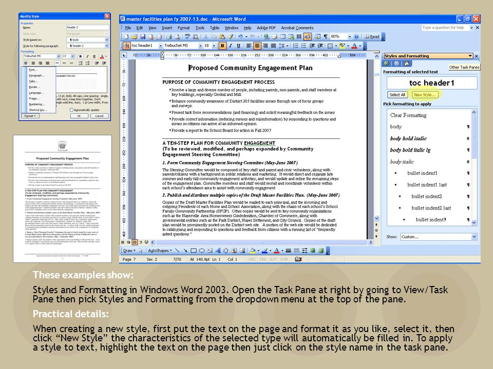 These examples show: Styles and Formatting in Windows Word 2003.